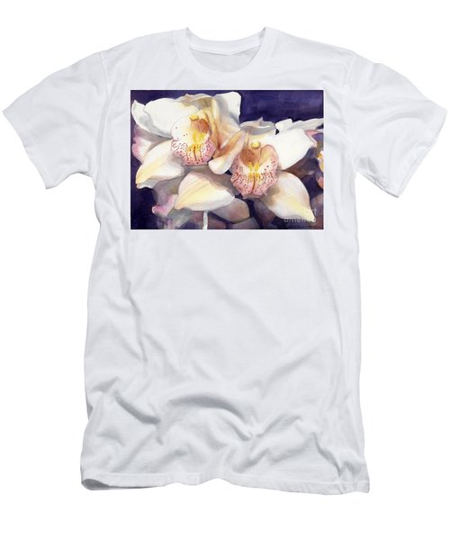White Orchids Watercolor Men's T-Shirt (Athletic Fit)