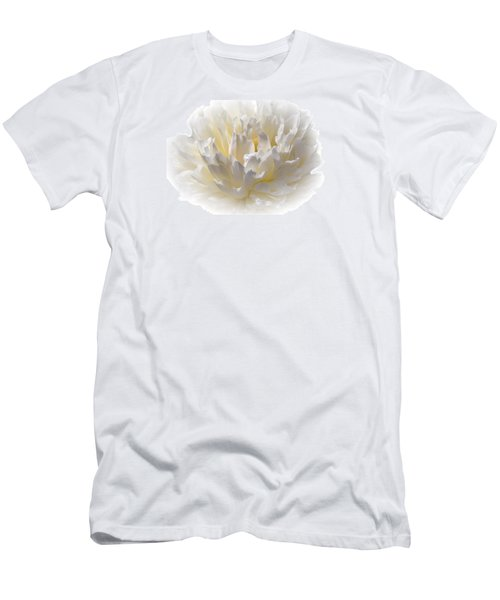 White Peony With A Dash Of Yellow Men's T-Shirt (Slim Fit) by Sherman Perry