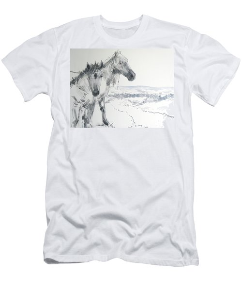 Wild Horses Drawing Men's T-Shirt (Athletic Fit)