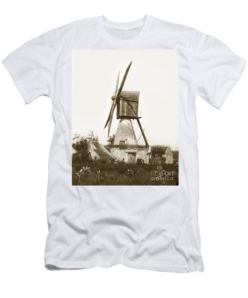 Men's T-Shirt (Slim Fit) featuring the photograph Wind Mill In France 1900 Historical Photo by California Views Mr Pat Hathaway Archives