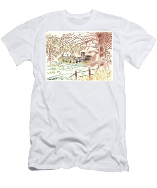 Winter In The Village Men's T-Shirt (Slim Fit) by Tracey Williams