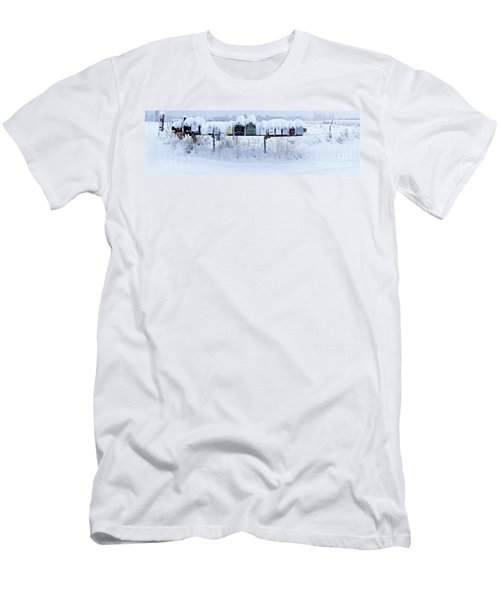 Winter Mailbox Panorama Men's T-Shirt (Slim Fit) by Sean Griffin