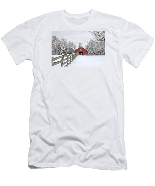 Winter On The Farm Men's T-Shirt (Slim Fit) by Benanne Stiens