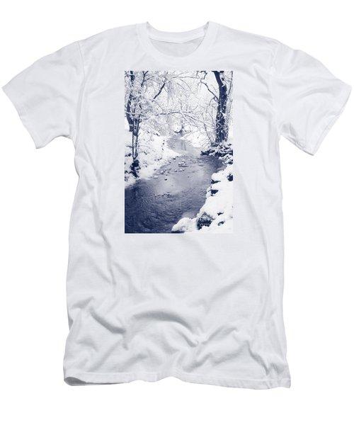 Men's T-Shirt (Slim Fit) featuring the photograph Winter Stream by Liz Leyden