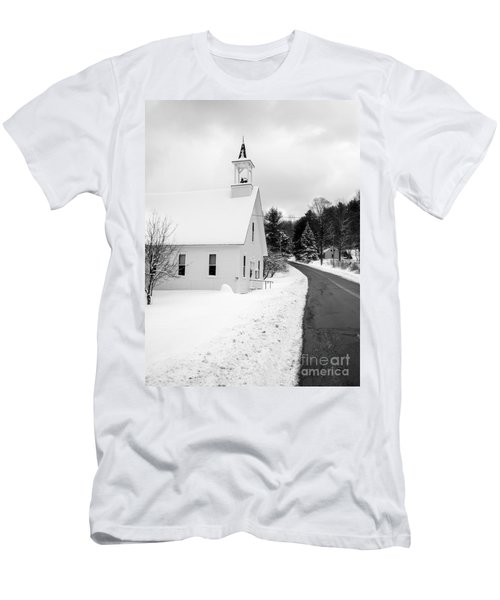 Winter Vermont Church Men's T-Shirt (Athletic Fit)