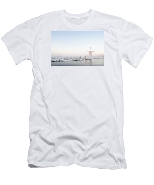 Winter Windmill Landscape In Holland Men's T-Shirt (Slim Fit) by IPics Photography