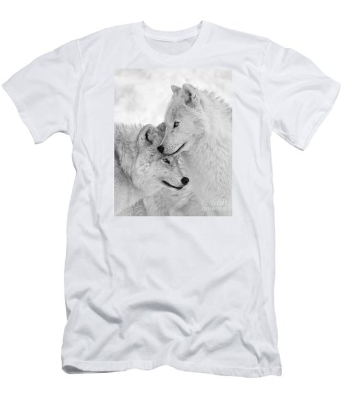 Wolf Love Black And White Men's T-Shirt (Athletic Fit)