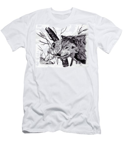 Men's T-Shirt (Slim Fit) featuring the drawing Wolves by Mayhem Mediums