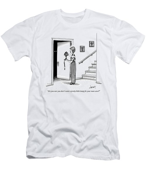 Woman Holding Lamp Stands At Dark Bedroom Doorway Men's T-Shirt (Athletic Fit)