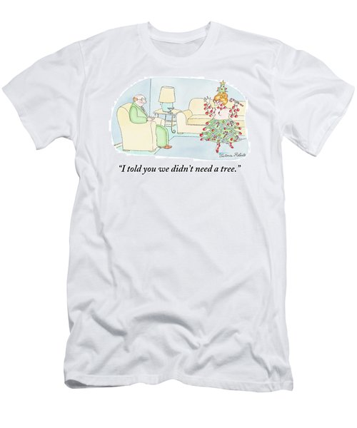 Woman Is Dressed As A Christmas Tree Men's T-Shirt (Athletic Fit)