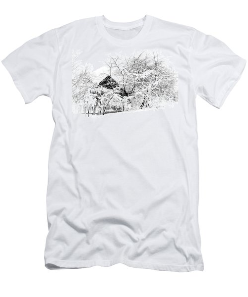 Wooden House After Heavy Snowfall. Russia Men's T-Shirt (Athletic Fit)