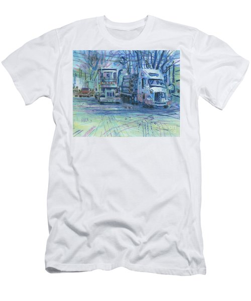 Men's T-Shirt (Slim Fit) featuring the painting Work Buddies by Donald Maier
