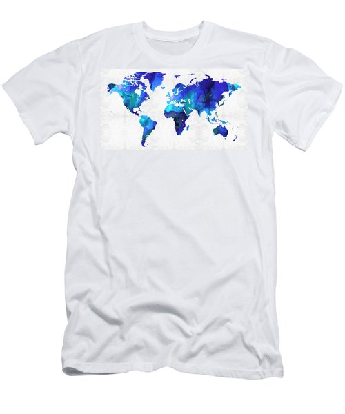 World Map 17 - Blue Art By Sharon Cummings Men's T-Shirt (Athletic Fit)