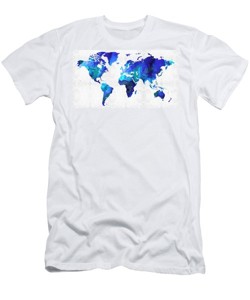 Men's T-Shirt (Athletic Fit) featuring the painting World Map 17 - Blue Art By Sharon Cummings by Sharon Cummings