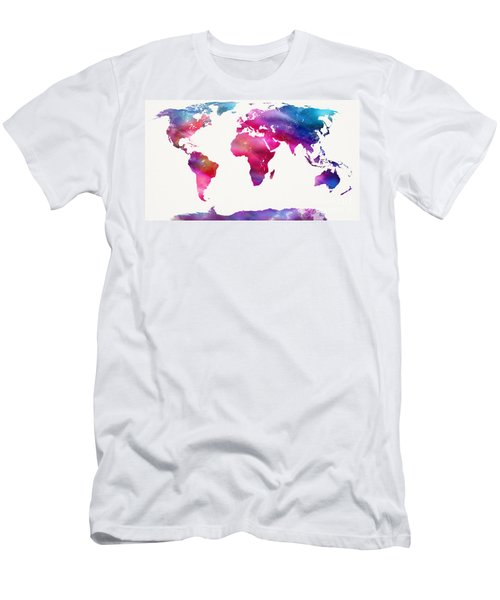 World Map Light  Men's T-Shirt (Slim Fit) by Mike Maher