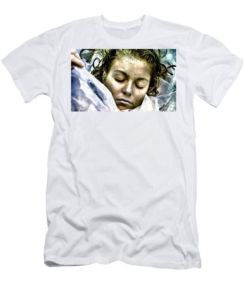 Men's T-Shirt (Slim Fit) featuring the painting Wrapped In Plastic by Luis Ludzska