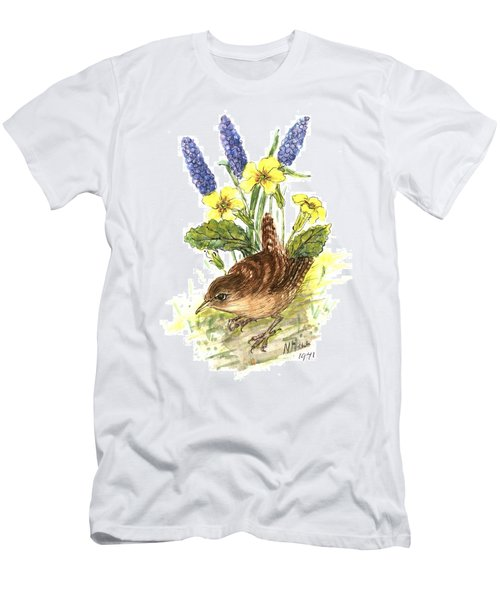 Wren In Primroses  Men's T-Shirt (Athletic Fit)