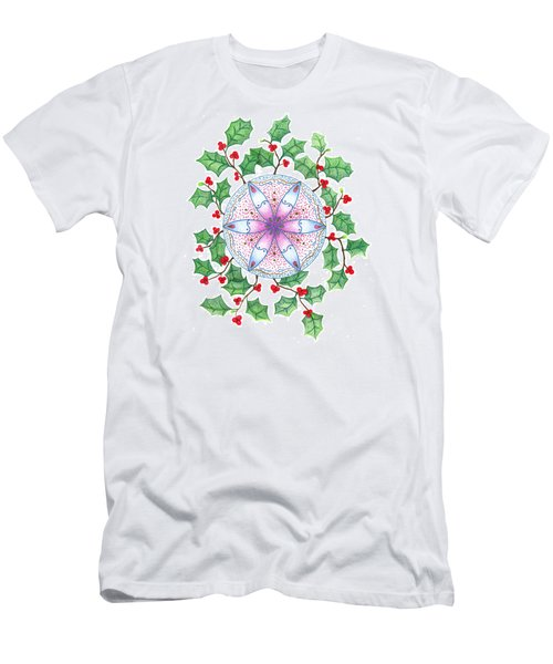 Men's T-Shirt (Slim Fit) featuring the drawing X'mas Wreath by Keiko Katsuta