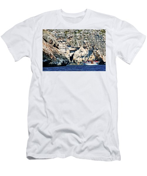Yacht In Sea Near Popeye Village Men's T-Shirt (Athletic Fit)
