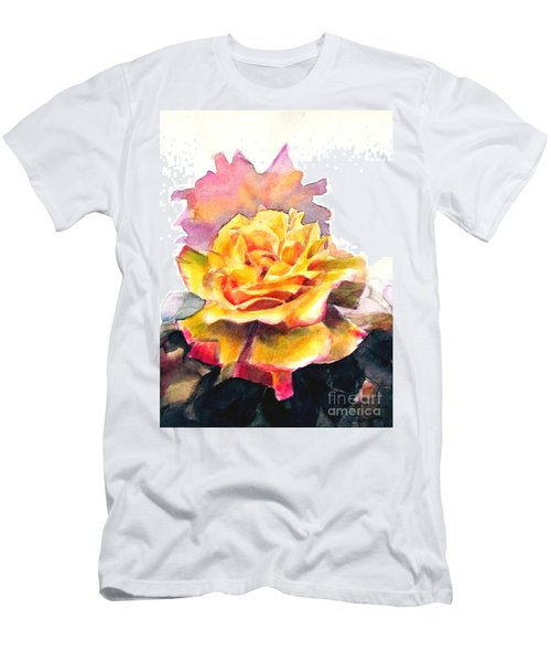 Men's T-Shirt (Slim Fit) featuring the painting Yellow Rose Fringed In Red by Greta Corens
