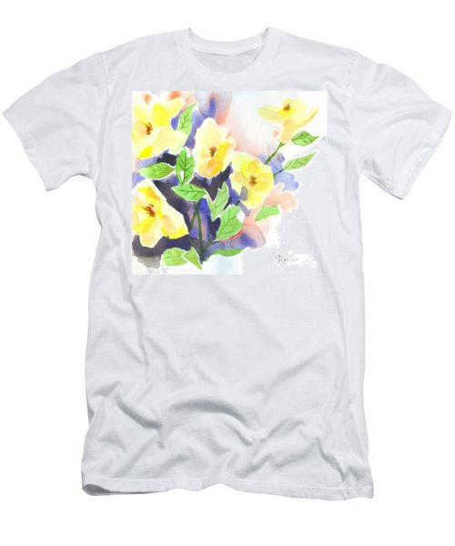 Men's T-Shirt (Slim Fit) featuring the painting Yellow Magnolias by Kip DeVore