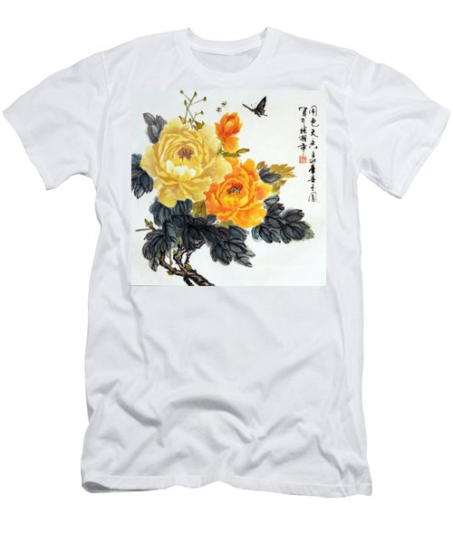 Men's T-Shirt (Slim Fit) featuring the photograph Yellow Peonies by Yufeng Wang