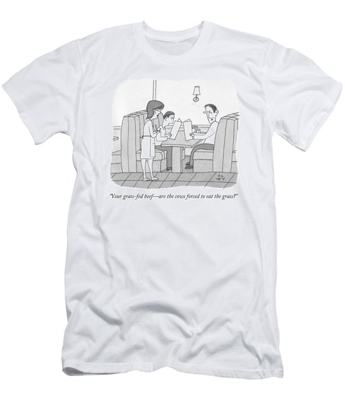 Your Grass-fed Beef - Are The Cows Forced To Eat Men's T-Shirt (Athletic Fit)