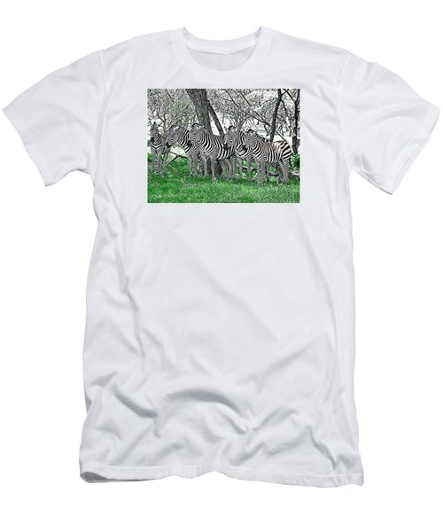 Men's T-Shirt (Slim Fit) featuring the photograph Zebras by Kathy Churchman
