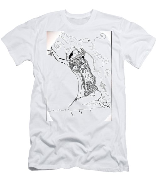 Men's T-Shirt (Slim Fit) featuring the drawing Dinka Dance - South Sudan by Gloria Ssali