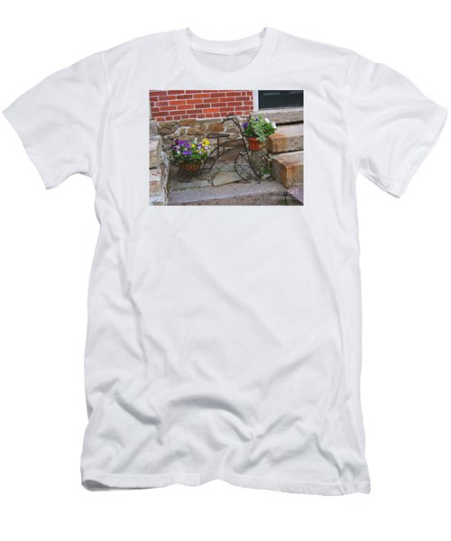Men's T-Shirt (Slim Fit) featuring the photograph Flower Bicycle Basket by Val Miller