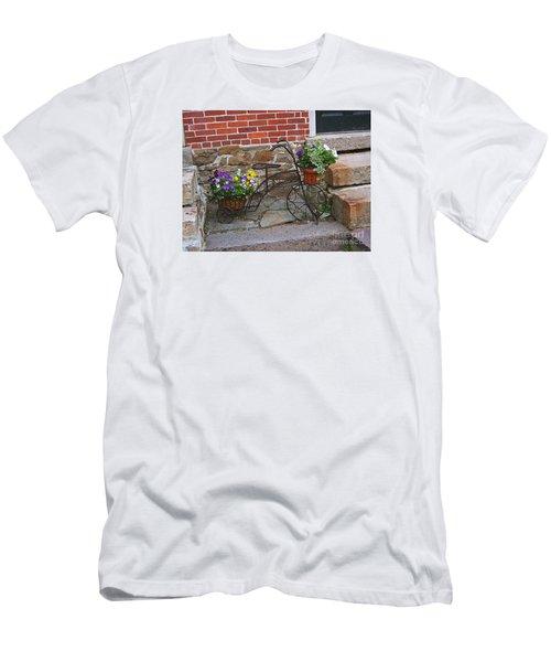 Flower Bicycle Basket Men's T-Shirt (Slim Fit) by Val Miller