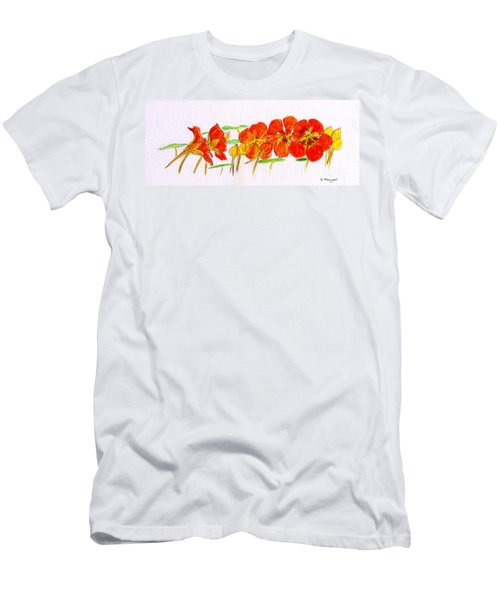 Nasturtiums Men's T-Shirt (Slim Fit) by Barbara Moignard