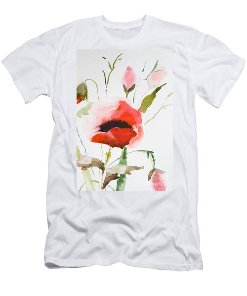 Watercolor Poppy Flower  Men's T-Shirt (Athletic Fit)