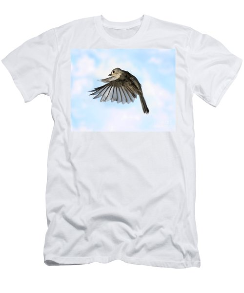 Tufted Titmouse In Flight Men's T-Shirt (Slim Fit) by Ted Kinsman