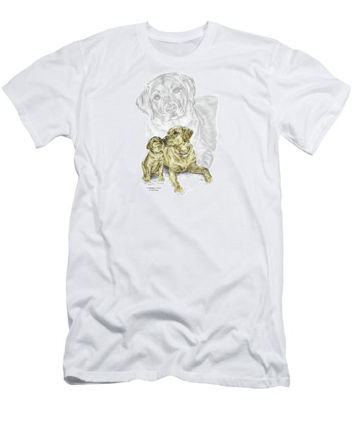 Men's T-Shirt (Slim Fit) featuring the drawing A Mothers Love - Labrador Dog Print Color Tinted by Kelli Swan