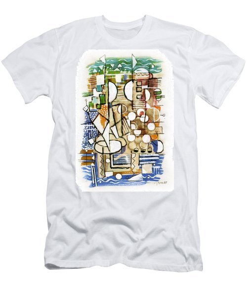 Akko Port Landscape Abstract Blue Green Ocean Water Sun Sky Brown Yellow Colorful City Beach Light Men's T-Shirt (Slim Fit) by Rachel Hershkovitz