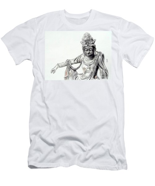 Men's T-Shirt (Slim Fit) featuring the painting An Oriental Statue At Toledo Art Museum - Ohio- 2 by Yoshiko Mishina