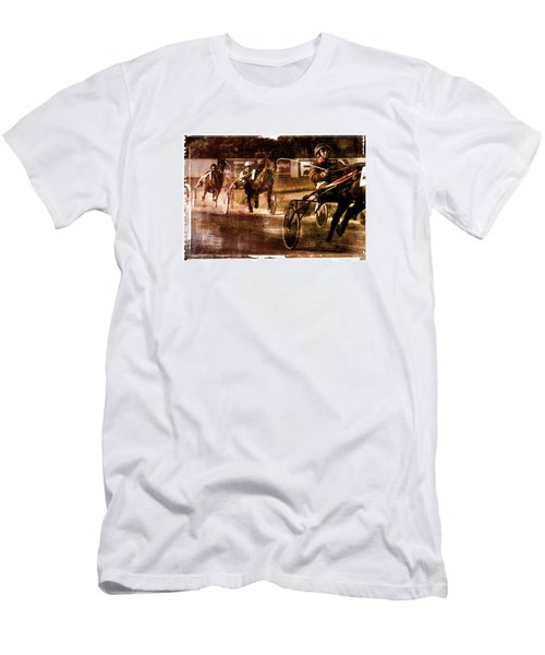 Men's T-Shirt (Slim Fit) featuring the photograph and the winner is - A vintage processed Menorca trotting race by Pedro Cardona
