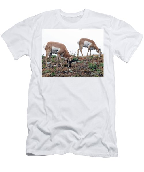 Men's T-Shirt (Slim Fit) featuring the photograph Antelopes Grazing by Art Whitton