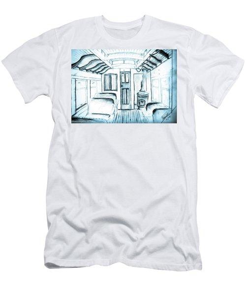Men's T-Shirt (Slim Fit) featuring the drawing Antique Passenger Car by Shannon Harrington