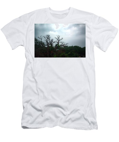 Men's T-Shirt (Slim Fit) featuring the photograph Approaching Storm Viewed Through My Rain Streaked Window by Lon Casler Bixby