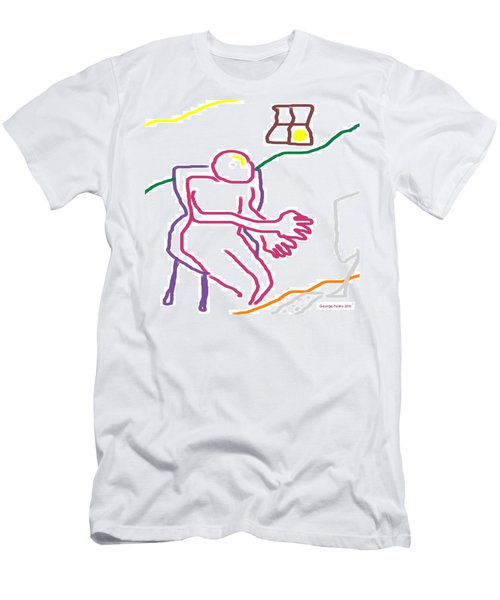 Men's T-Shirt (Slim Fit) featuring the digital art At The Computer by George Pedro