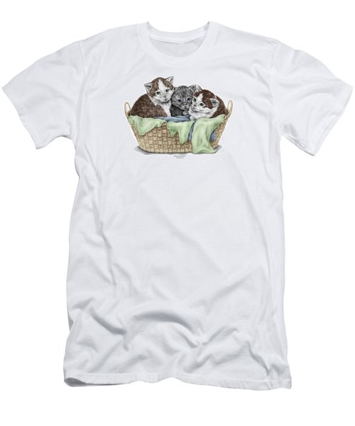 Men's T-Shirt (Slim Fit) featuring the drawing Basket Of Kittens - Cats Art Print Color Tinted by Kelli Swan