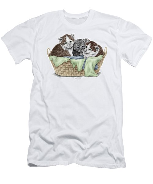 Basket Of Kittens - Cats Art Print Color Tinted Men's T-Shirt (Athletic Fit)