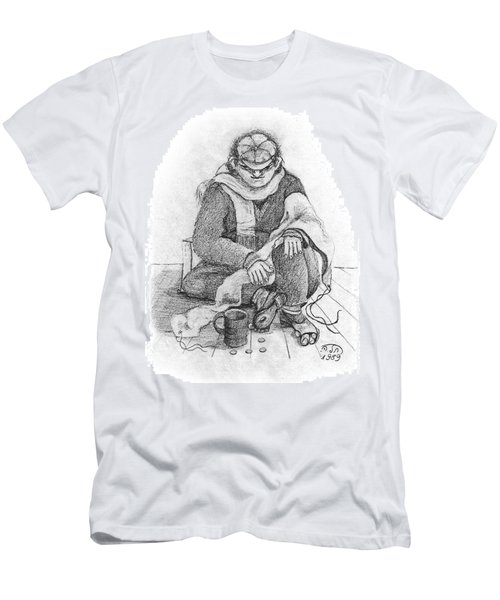 Beggar 2  In The  Winter Street Sitting On Floor Wearing Worn Out Cloths Men's T-Shirt (Slim Fit) by Rachel Hershkovitz