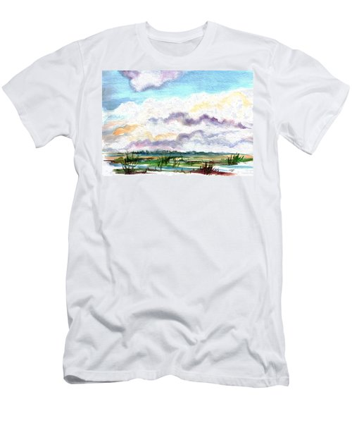 Men's T-Shirt (Slim Fit) featuring the painting Big Clouds by Clara Sue Beym