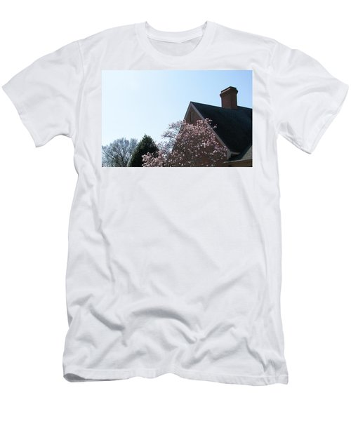 Men's T-Shirt (Slim Fit) featuring the photograph Brick And Blossom by Pamela Hyde Wilson