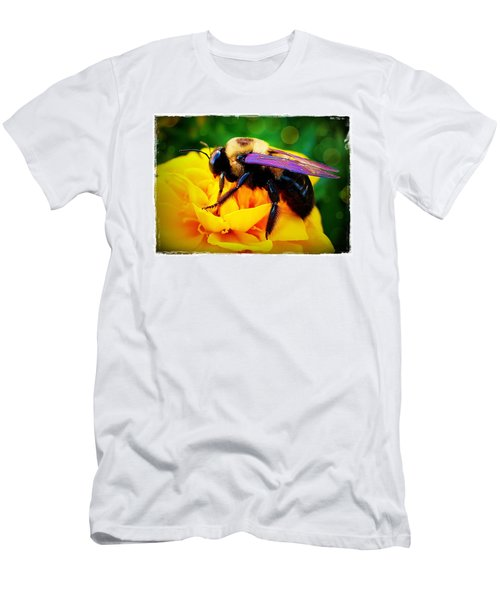 Men's T-Shirt (Slim Fit) featuring the photograph Bumblebee With Bokeh by Judi Bagwell