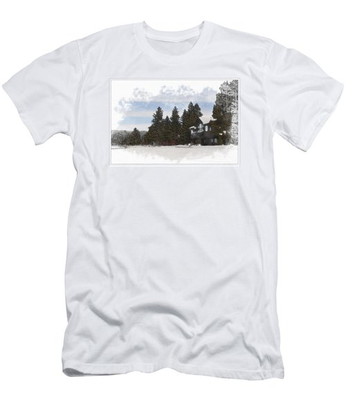 Cabin In Snow With Mountains In Background Men's T-Shirt (Athletic Fit)