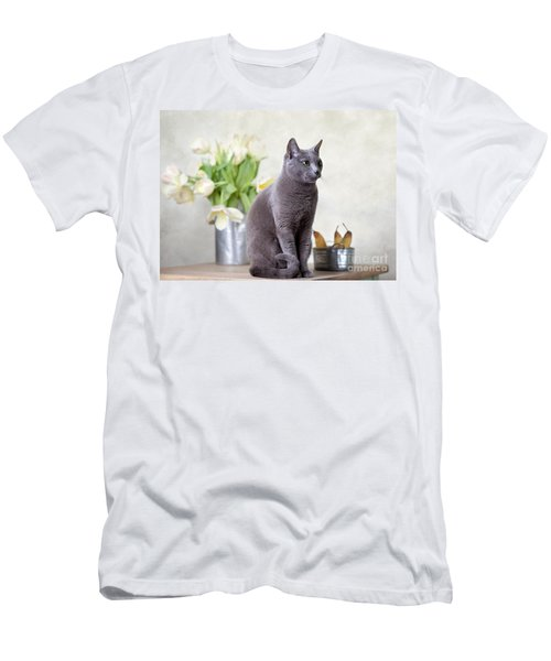 Cat And Tulips Men's T-Shirt (Athletic Fit)